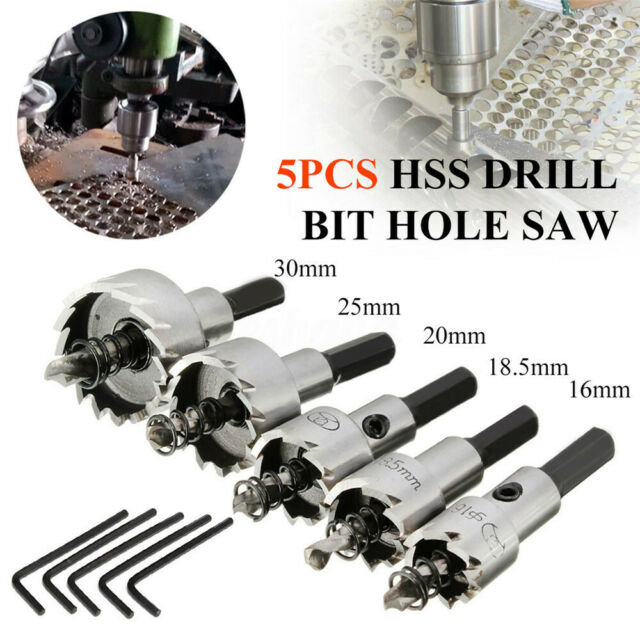5PCS HSS Drill Bit Hole Saw Tooth Set Stainless Steel Metal Alloy Cutter