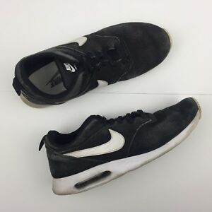 pretty nice f35bb af7a8 Image is loading Nike-Air-Max-Tavas-Leather-Suede-Black-Running-