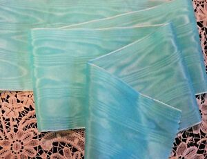 "4/"" WIDE RAYON MOIRE/' RIBBON TURQUOISE by the yard"