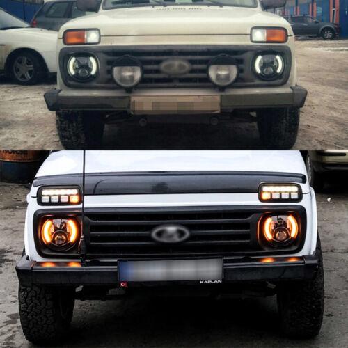 """2x 7 /"""" Zoll Rund 6-led Scheinwerfer Land Rover Defender Scheinwerfer Hi//Lo Beam"""