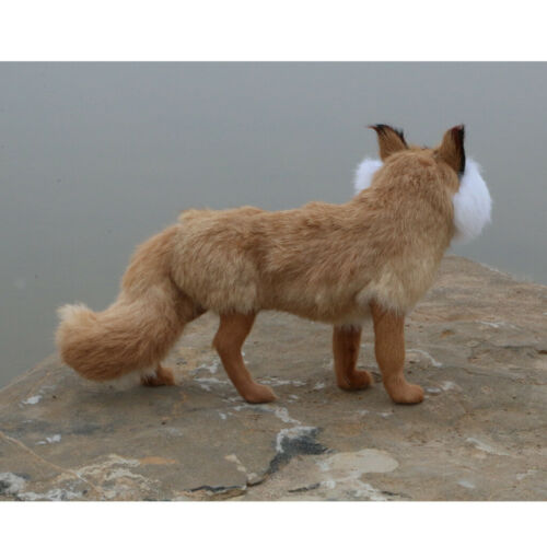 1pc Artificial Fur Animal Garden Decor Decorative Figure Ornament Brown