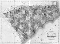 1839 SC MAP Spartanburg Sumter Union County Old South Carolina History      HUGE