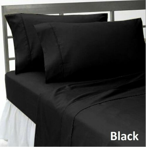 Extra Deep Pocket Fitted Sheet+2 Pillow Case 1000 TC Solid Colors AU Queen