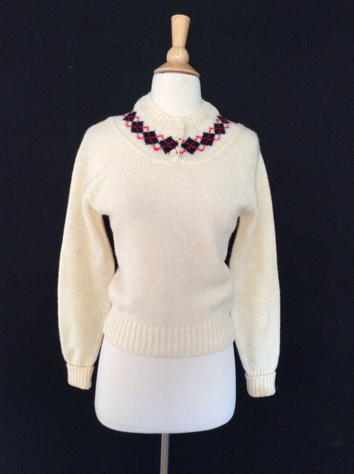 1960's VINTAGE Made In Scotland Shetland Wool Scottish Tartan Plaid Sweater S