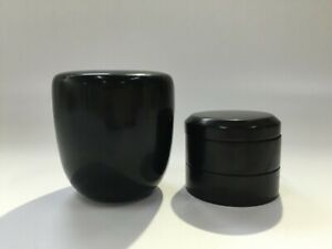 Japanese-Wooden-Tea-Caddy-Natsume-Vtg-2pc-Tea-Ceremony-Lacquer-ware-Black-S107