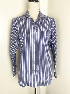 LL-Bean-Blue-Stripe-Button-Down-Shirt-Sz-S-Womens-Long-Sleeve-Cotton-Blend