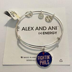 (3) Alex And Ani Fighting Phils Bangle Charm Bracelets Shiny Silver Finish