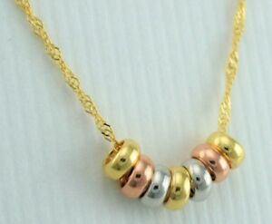 9ct Gold Yellow White Rose Gold Mini Lucky Rings Pendant Necklace 16 Inch Ebay