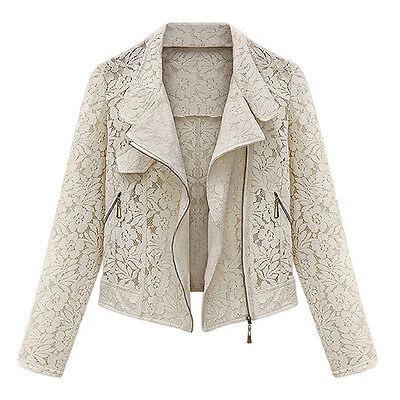 Women's Full Lace Long Sleeve Zip Up Short Jacket Outwear Beige S F8