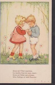 CARTE-POSTALE-ANCIENNE-RELIGIEUSE-HOLY-CARD-SANTINI-ENFANTS-PARTAGE