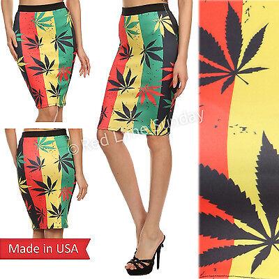 Women Hot Sexy Weed Rastafarian Green Leaf Marijuana Cannabis Pencil Skirt USA