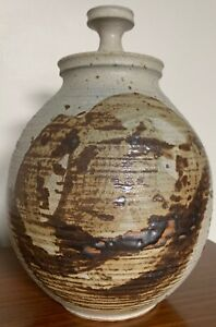 Vintage-Stoneware-Vase-Jug-Vessel-Urn-Mid-Century-Modern-Studio-Pottery-Deyoe-F