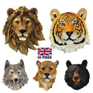 Wall Hanging Animal Black Bear Lion Head Sculpture Ornament Wall Realistic Decor