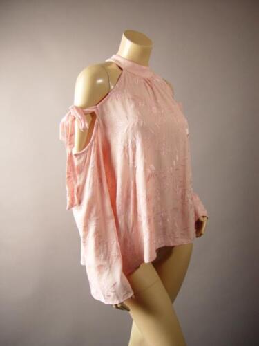 Pink High Neck Embroider Floral Tie Sleeve Off Shoulder Top 261 mv Blouse S M L