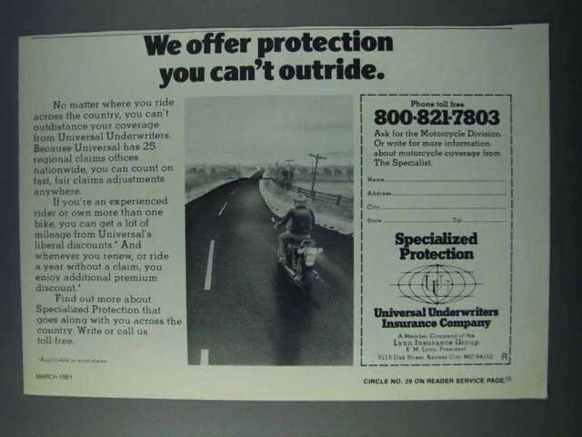 1981 Universal Underwriters Insurance Company Ad | eBay