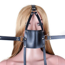 Slave Head Harness Mouth Open Leather strap Silicone 42mm Ball Gag Locked Toy SM
