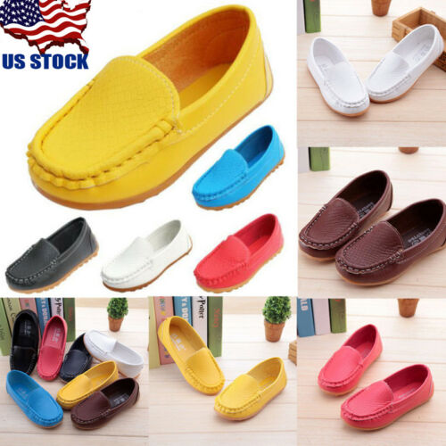 US Stock Boys Girls Kids Baby Oxford Flats Shoes Loafers Sneaker PU Leather Boat