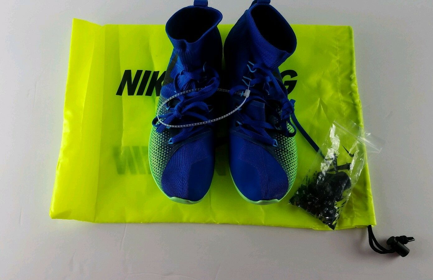 Nike zoom victory waffle 4 XC men's racing shoes bluee and green  volt Size 10.