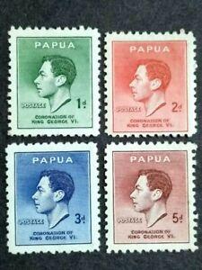 1937 Papua Coronation Of King George VI Complete Set - 4v MH