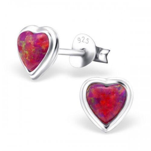 Plata esterlina 925 Corazón Aretes con piedras opal