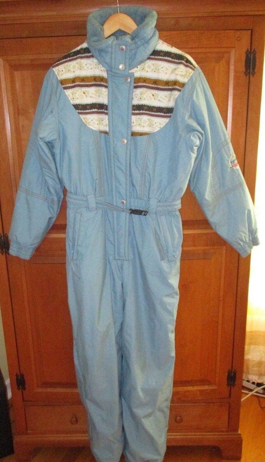 Ladies Vintage Sunice bluee Southwestern Accent Ski Suit Jumpsuit Size M L