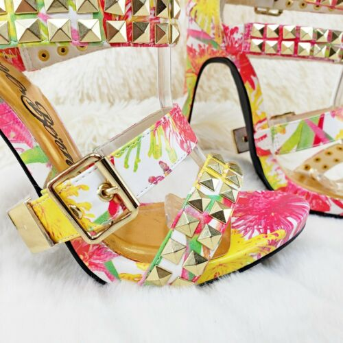"""Details about  /Nelly Bernal Navaeh White Floral Multi Strap Sandal 4.5/"""" High Heel Shoe Size 7.5"""