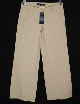 "Sanft New Women's French Connection Vintage Striped Trousers Jeans Rrp£65 L32"" Cream Elegantes Und Robustes Paket"