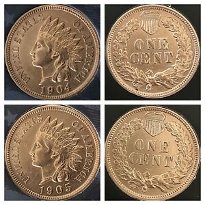 1904-amp-1905-Indian-Head-Pennys-4-DIAMONDS-REALLY-NICE-COINS-Cleaned
