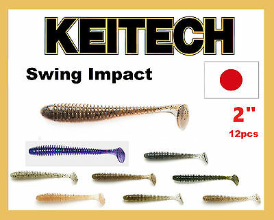 """KEITECH Lures Swing Impact 2/"""" 12 pcs JAPAN Strong scented Drop Shot jig Tackle"""