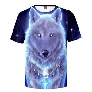 Men-039-s-T-shirt-Creative-3D-Wolf-Print-Short-Sleeve-Crystal-Blue-4XL