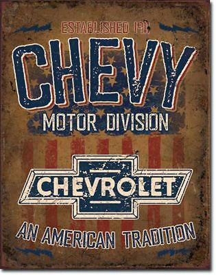 Chevy Power Metal Tin Ad Sign Chevrolet Auto Truck Garage Shop Wall Decor Gift
