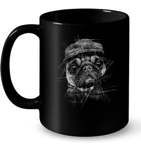 Black and White Pug Coffee Mug