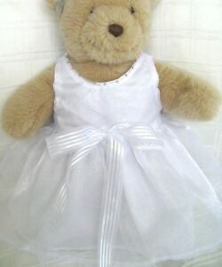 Teddy-Bear-Clothes-Handmade-White-Organza-039-Faith-039-Dress-amp-Head-Ribbon