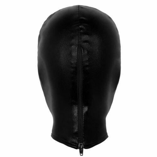 Unisex Latex Shiny Metallic Headgear Mask Role Play Costume Open Eye Open Mouth