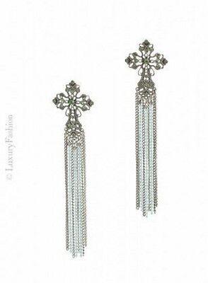 """Orecchini Luxury Fashion modello """"Faith"""" a forma di croce con catenine pendenti"""