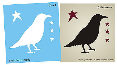"Prim Crow Stencil Country 3"" Bird Stars Primitive Home Shelf Sitter Block Topper"