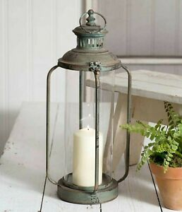 Primitive-CORK-COUNTY-CANDLE-LANTERN-HOLDER-Tall-PATINA-Cottage-Farmhouse-Rustic