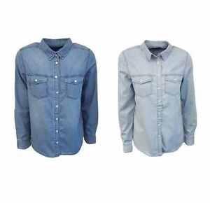 944e4445f43 Ex New Look Ladies Womens Blue   Light Blue Denim Pocket Shirt Top ...