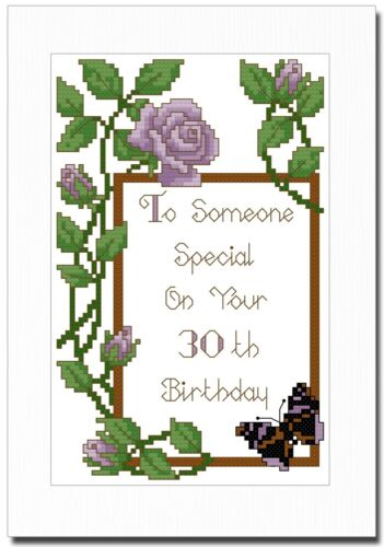 ANY AGE CROSS STITCH CARD KIT HAPPY BIRTHDAY PURPLE ROSES CAN PERSONALISE