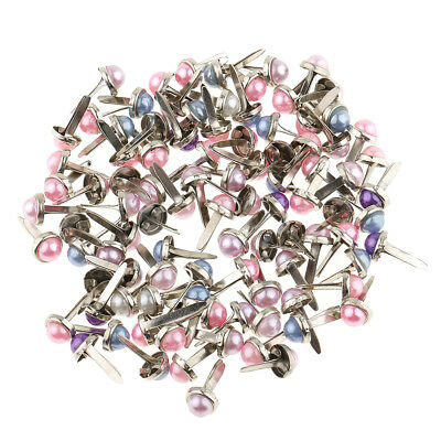 200pcs Mixed Color Metal Iron Brads Paper Fasteners Paper Craft 5.5x11mm