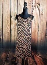 Michael Kors Brown Black Zebra Print Tank Dress Size S Chain&Leather Strap NWOT