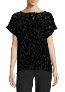 EILEEN-FISHER-BLACK-GEOMETRIC-VELVET-BURNOUT-BOXY-TOP-NWT-XL