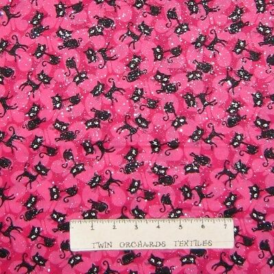 Fabric Traditions Bright Butterfly Toss on Pink Silver Glitter YARDS