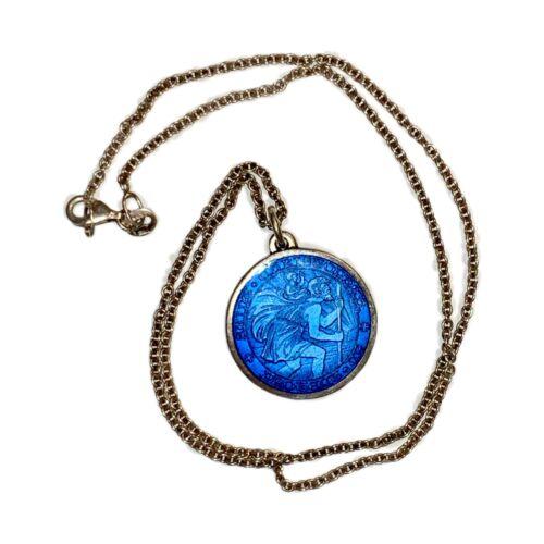 Pendant St Christopher Safe travels Enamel blue and green Vintage silver charm