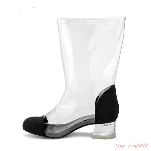 bout transparentes avec à de pour avec pluie rond rond Bottines glissière à femmes talon fermeture chaudes chaussures ZYEqn8