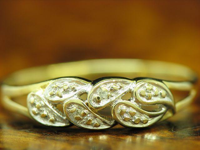 8kt 333 yellowgold Ring mit Diamant Besatz   RG 57   1,1g