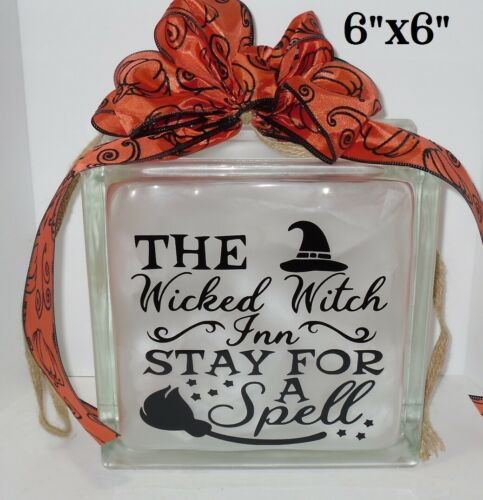 "Wicked Witch Inn Halloween decal sticker for DIY 8/"" glass block shadow box"