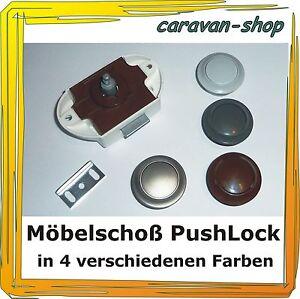 Caravan Wohnmobil Möbelschloss Push Lock silber grau oder braun für Wohnwagen