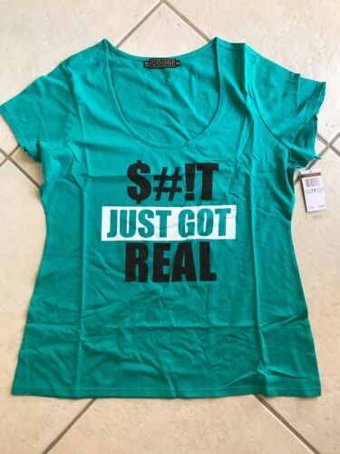 NWT Womens Coogi S#it Just Got Real Tee T Shirt Scoop Neck Teal Plus Sizes