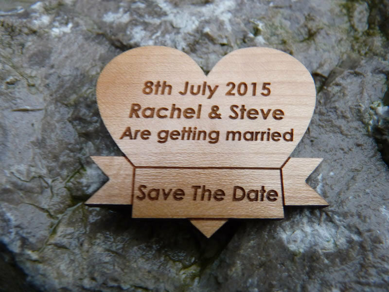 Personalised Save The Date fridge magnets  Wedding   Engagement Hearts Wood